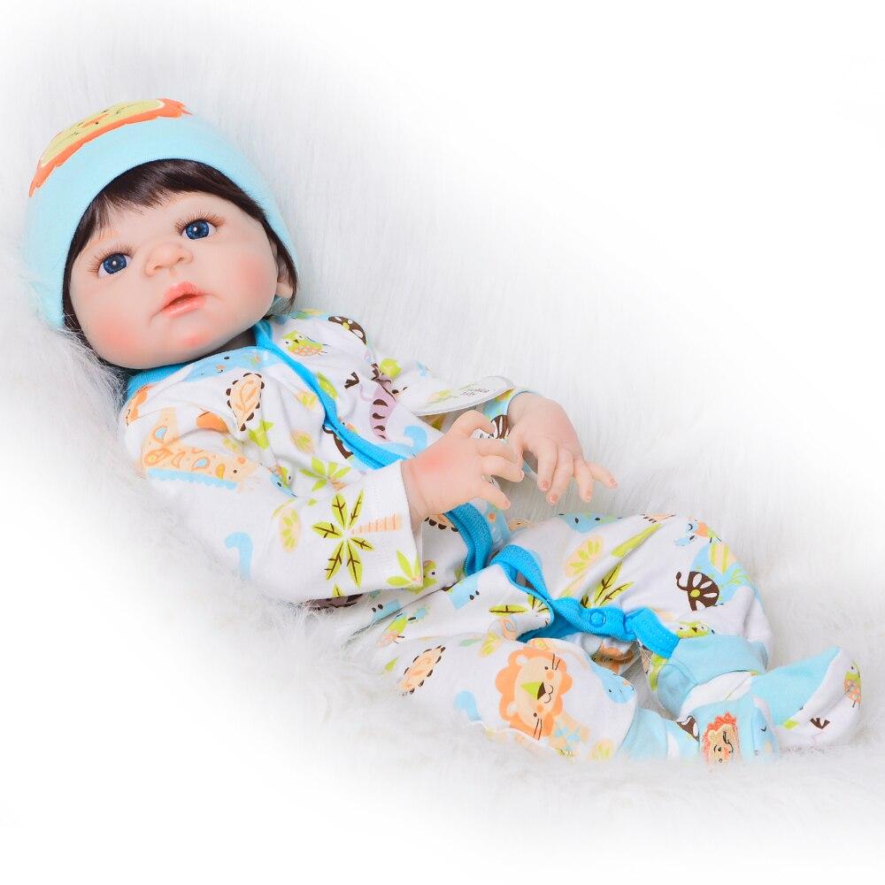 New Style 23 Inch Reborn Bonecas Lifelike Newborn Doll 57 cm Full Silicone Vinyl Bebe Reborn Toy For Boy Toddler Birthday Gifts цена