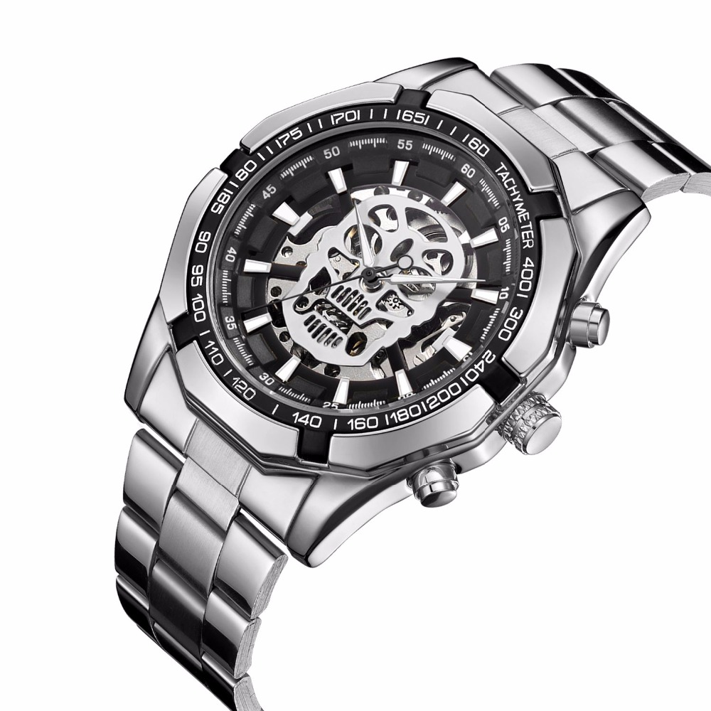 Fashion Mens Watches Men Skull Skeleton Mechanical Automatic Self Wind Watch Stainless Steel Skull Dial Wristwatch все цены