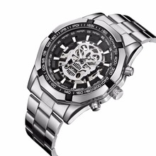 Fashion Mens Watches Men Skull Skeleton Mechanical Automatic Self Wind Watch Stainless Steel Skull Dial Wristwatch