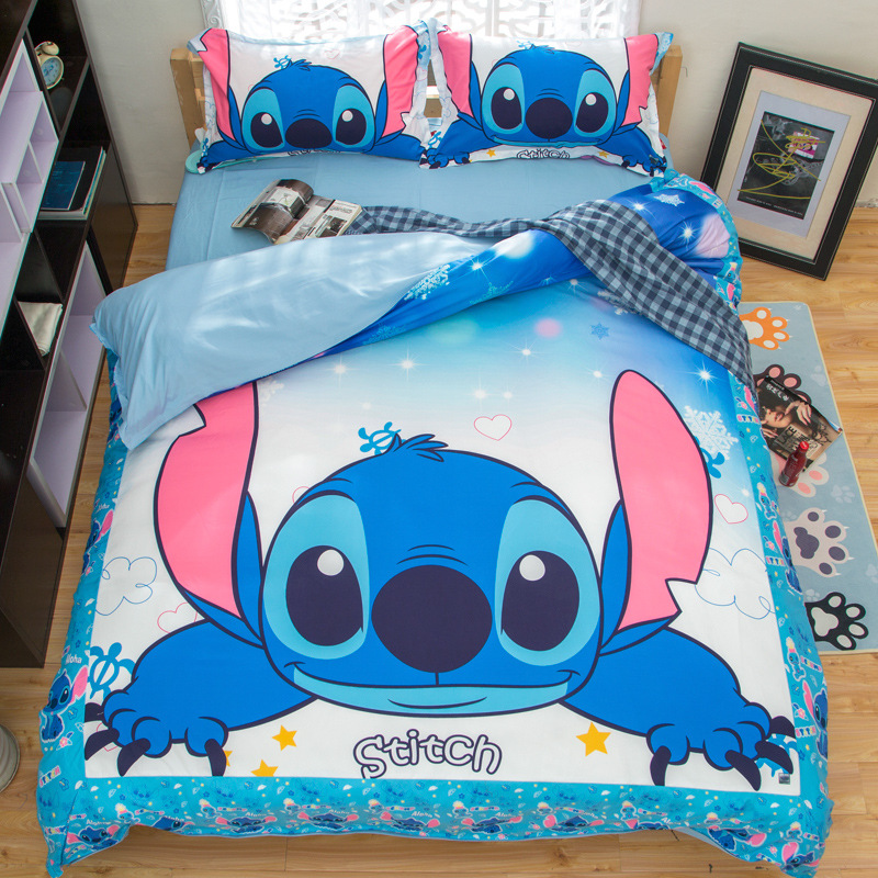 Stitch Printed Bedding Set Cartoon Bedspread Single Twin Full Queen King Size