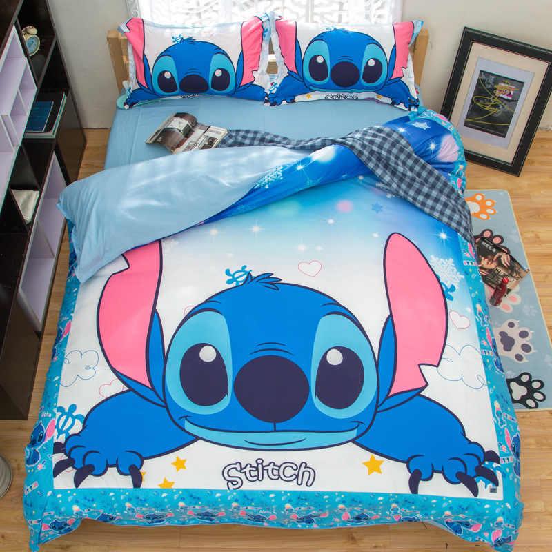Stitch Printed Bedding Set Cartoon Bedspread Single Twin Full