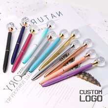 1pc 0.7mm Creative Crystal Ballpoint Pens Gem Gift Fashion Boxes Student Stationery Bullet Big Diamond Pen Custom Logo