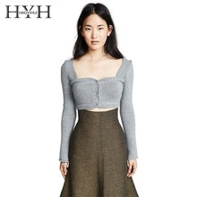 HYH Haoyihui INS Fashion Popular Casual Short Midriff Tops Solid Color Gray Sexy Covered Buttons Square Collar Knit Sweater