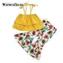 Kid Summer Clothing Set Off Shoulder Top + High Wait  Floral Shorts Pants 2Pcs Fashion For Girls