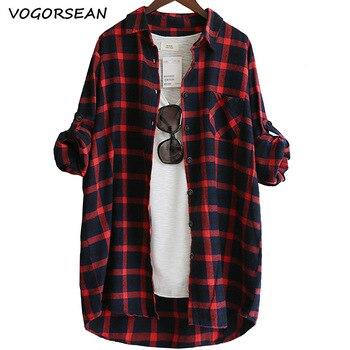 Blusa de mujer Camisa suelta Casual Plaid Camisas de manga larga Tops de gran tamaño Blusas para mujer Rojo Verde 2021 1