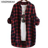 VogorSean Baumwolle Frauen Bluse Hemd Plaid 2019 Lose Beiläufige Plaid langarm Große größe Tops Frauen Blusen rot/grün