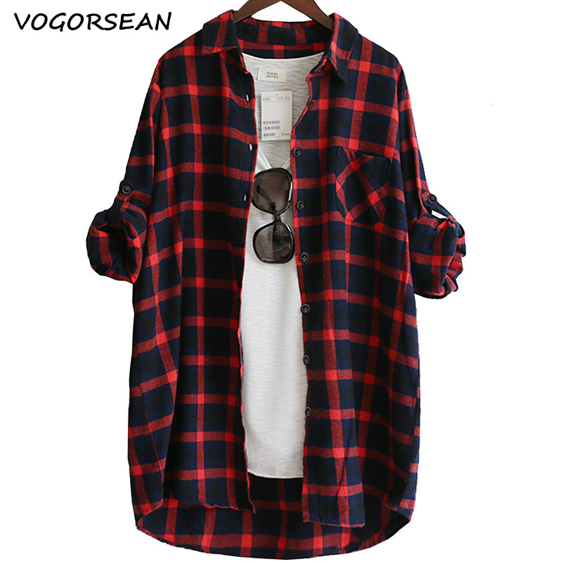 VogorSean Cotton Women Blouse Shirt Plaid 2020 Loose Casual Plaid Long Sleeve Large Size Tops Womens Blouses Red/green