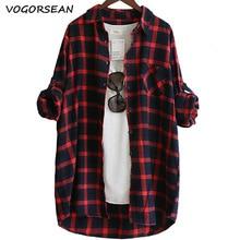 Женская хлопковая блузка VogorSean, свободная Повседневная Блузка в клетку с длинным рукавом, большие размеры, красный/зеленый, 2020
