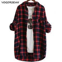 Vogorseon blusa de algodão xadrez feminina, camisa xadrez casual solta de manga comprida tamanho grande 2020, vermelho/verde