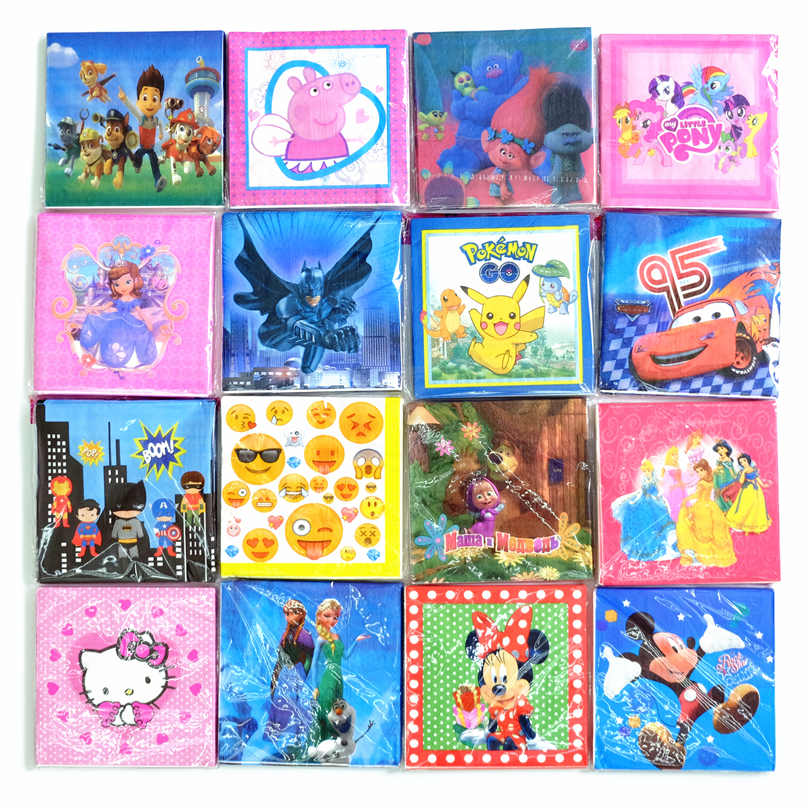 20pcs/lot Disposable Napkins Mickey Minnie Trolls Pokemon Go Batman Kids Birthday party supply event supplies party Decoration