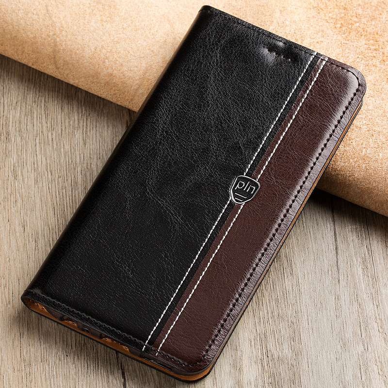 Fashion Stitching Color Cover Case For <font><b>Sony</b></font> Xperia Z5 E6603 <font><b>E6633</b></font> E6653 Case Flip Stand Magnetic Genuine Leather Phone Cover Bag image