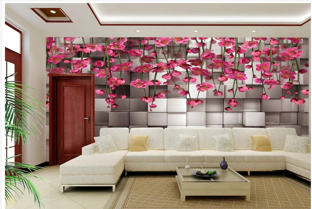 3d three dimensional black and white squares of red flower for Black and white wall mural wallpaper