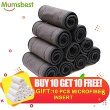 [Mumsbest] compre 10 ganhe 10 inserções de microfibo, fraldas reutilizáveis, super absorção cinza, inserção de carvão, bambu, fraldas macias forro