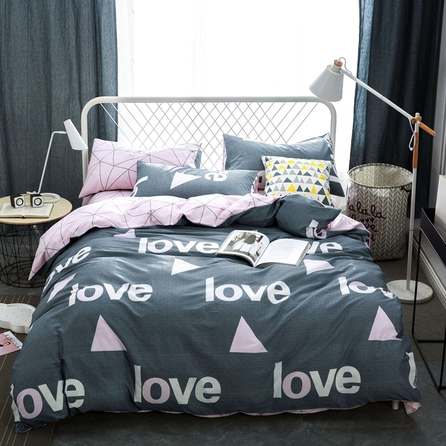 Grau Bettbezug Mit Dreieck Muster 100 Baumwolle Bettwäsche Set