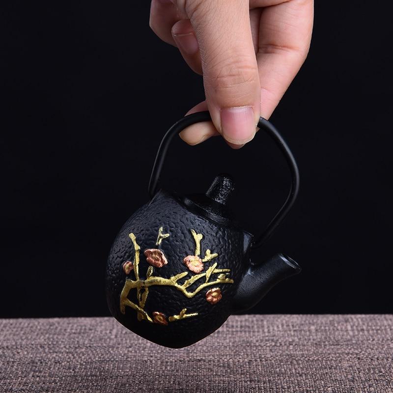 Tea font b Pet b font Decoration Mini Small Teapot Cast Iron Pots Small Gold Kung
