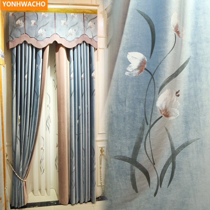 Custom Curtains Painted Chinese Classical Luxury High-grade Thick Blue Flannel  Cloth Blackout Curtain Tulle Valance Drape B278