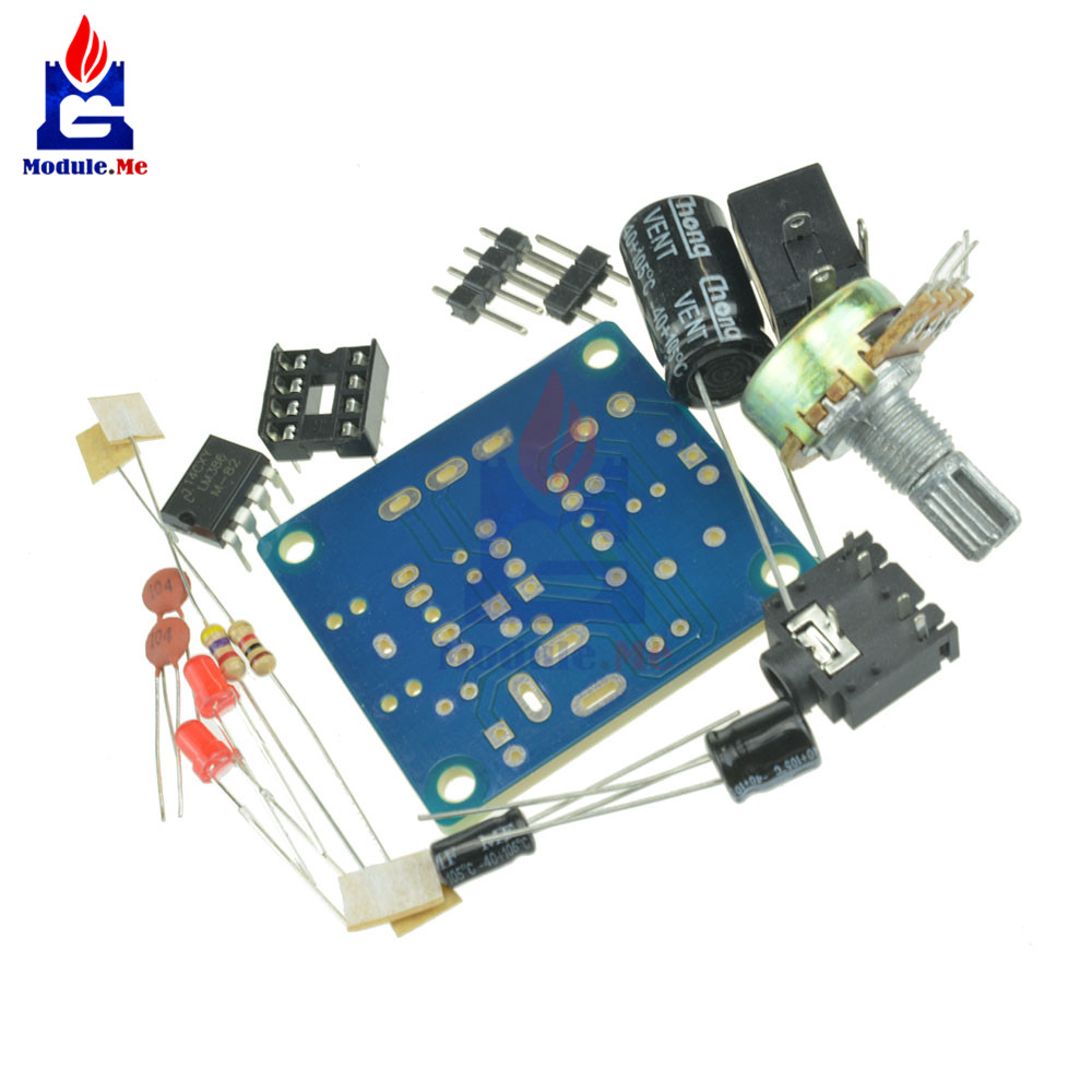 200 Times Gain Lm386 Audio Amplifier Module 10k Adjustable Working Operation Of Ic Mini Board Diy Kit 3v 12v Power Suit Variable Resistor Dip8