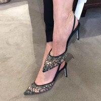 Со стразами свадебные туфли женские туфли на шпильках обувь с украшением в виде кристаллов каблуки туфли невесты с острым носком со стразам