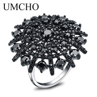 UMCHO Gemstone Natural Black Spinel Ring Female Solid 925 Sterling Silver Rings For Women Round Wedding Engagement Jewelry Gift