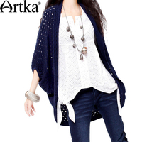 ARTKA Women's Autumn Casual Plum Blossom Solid Hollow Out Loose Half Batwing Sleeve High Quality Wool Cardigan Y015555C
