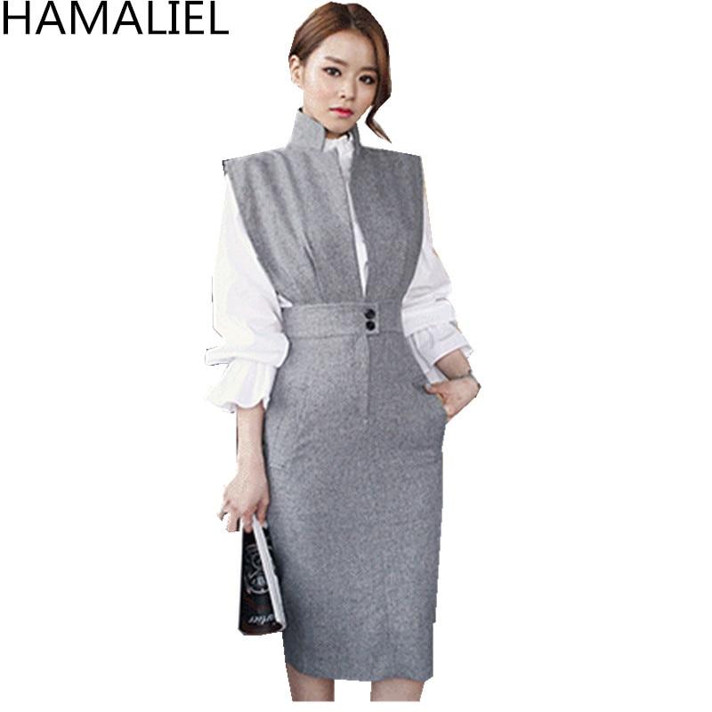 Women 2 Piece Set Dress New 2018 Autumn White Ruffles Stand Collar Blouse Top + Gray Sleeveless Notched Collar Pencil Skirt Set