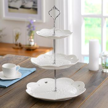 Serving Tray Stand | 3 Tiers Round Serving Tray Platters Appetizer Or Dessert & Cake Stand Great For Wedding Tea Party Holiday Dinners Birthday Party