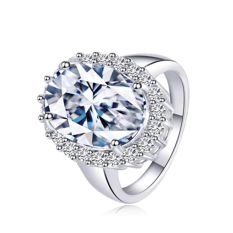 CWWZircons ยี่ห้อ Halo แหวนหมั้นที่สวยงาม 6 กะรัตไข่รูปไข่ CZ และ Micro Cubic Zirconia แหวนแต่งงานแฟชั่น R071