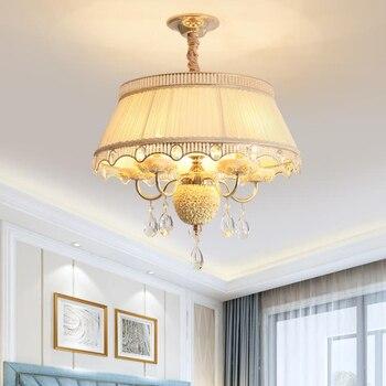 Romantyczny styl europejski LED ceramiczny wisiorek światła pasterstwo crystal drop oświetlenie salon sypialnia tkaniny wisiorek światła