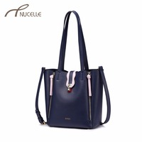 NUCELLE Women S Leather Shoulder Bags Ladies Fashion Rivet Panelled Composite Bag Female Elegant Brief Bucket
