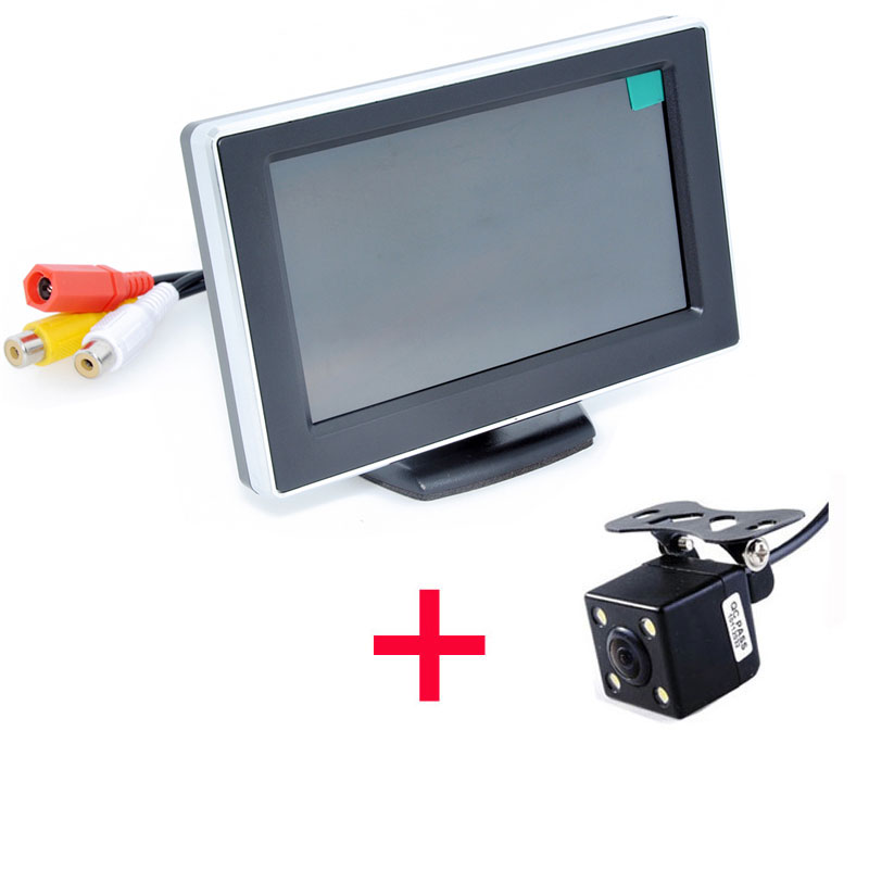 Hot Car HD Video Auto Parking Monitor, LED Night Vision Reversing Car Rear View Camera With 4.3 inch Car Rearview Mirror Monitor 4 3 inch universal rearview mirror with bluetooth car rear view camera rv 430bt mirror monitor with bluetooth free shipping