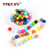 TYRY.HU 100Pcs 15mm Silicone Beads DIY Necklace Round Beads BPA Free Food Grade Baby Teethers Baby Teething Toys Beads Charms