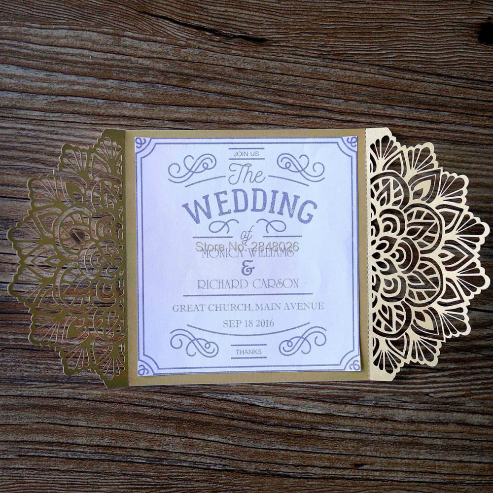 50pcs Personalized Gold Bride Groom Laser Cut Elegant