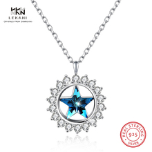 цены LEKANI Crystals From Swarovski Necklaces 925 Ssterling Silver Star Star Crystal Pendant Necklaces Fine Jewelry For Women Girl