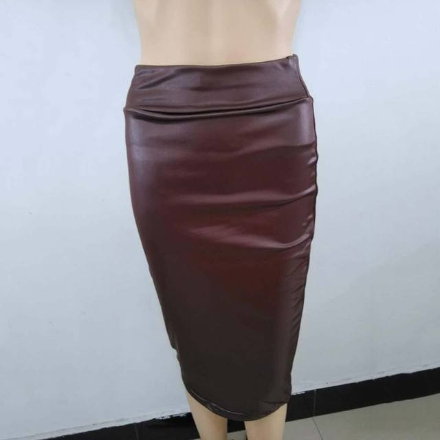 Women High Waist Faux Leather Pencil Skirt