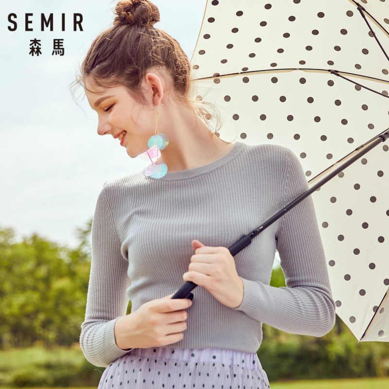 SEMIRผู้หญิงติดตั้งซี่โครง-ถักขนสัตว์ 100% เสื้อกันหนาวเสื้อกันหนาวRibbingที่Necklineข้อมือและสไตล์Chicสำหรับฤดูใบไม้ร่วงฤดูหนาว