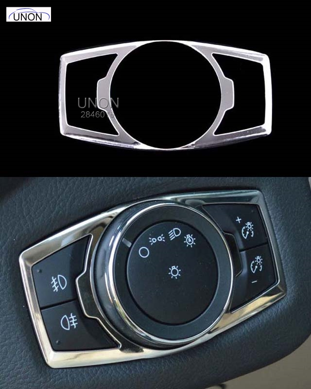 Stainless steel headlight switch cover stickers for ford - 2013 mustang interior accessories ...
