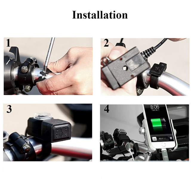 Universal Waterproof 12V-24V Motorcycle Motorbike Handlebar Dual USB Socket Splitter Charger Power Adapter for Mobile Phone