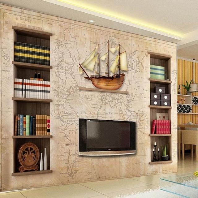 Free Shipping Office 3D Classical Bookshelf Wallpaper Western Restaurant Mural Coffee Dessert Shop Waterproof