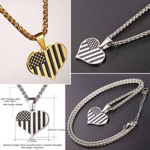 American Flag,USA Patriot Freedom Stars and Stripes Dog Tag Pendant Necklace,Gift,Men Jewelry,Gold Color Stainless Steel,P72