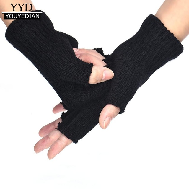 2017 Hot Selling Gloves Men Black Knitted Stretch Elastic Winter Warm Half Finger Gloves Men Gants Homme*1127