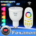 100% Original Mi Light 2.4G 85-265V Dimmable 4x GU10 4W Wifi RGB LED Bulb Bablle + 1x 4-Zone Remote Control Lamp Lighting