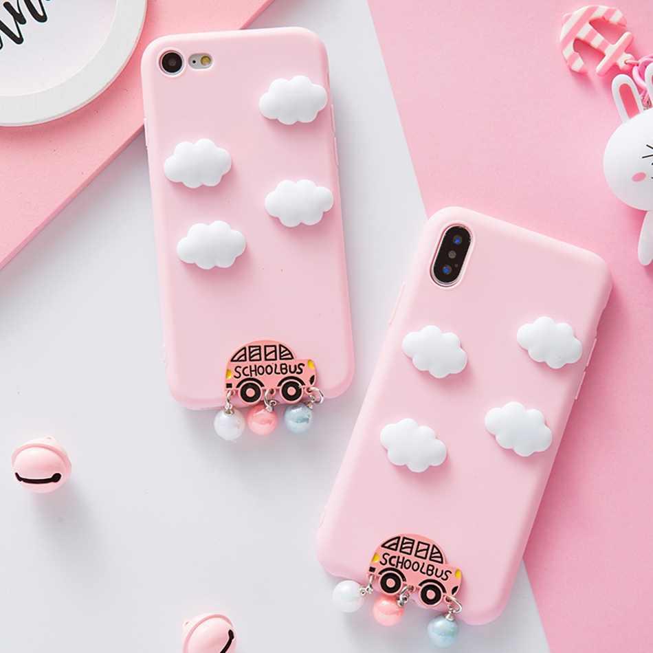 Untuk Galaxy A9 Pro Case 3D Lucu Kartun Awan Mobil Permen Phone Case untuk Samsung A8 A6 Plus A5 A7 a9 2018 Lembut TPU Cover