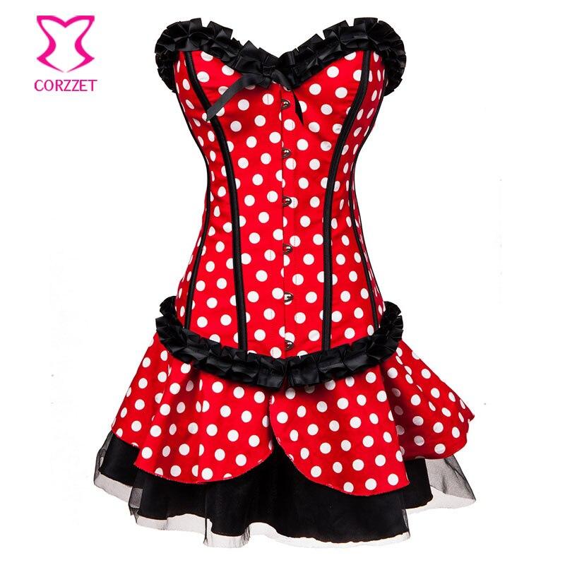 Lolita Rojo / Blanco Polka Dot Fancy Corset Dress Mouse Mascota Anime - Disfraces - foto 3