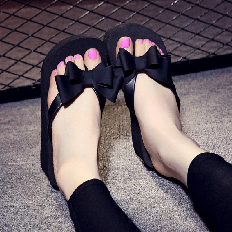 Women Bow Flip Flops Home Summer Indoor Non-slip Wedge Slippers Platform Sandals Ladies Sweet Outdoor Beach Casual Slides BTF926