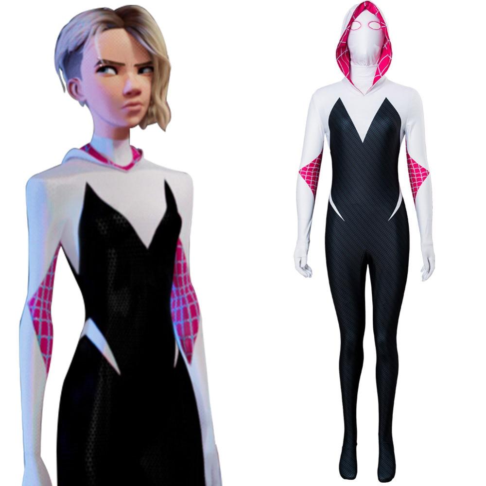 Spiderman Gwen Stacy Parallel Universe Cosplay Costume Spider-man Jumpsuit Spider-Gwen Carnival Superhero Costume Women Girls