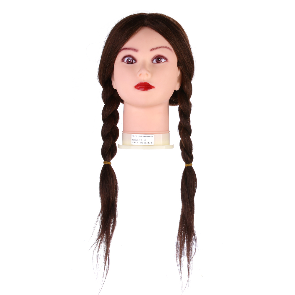 18 Hairdressing Training Mannequin Practice Head 100% Real Hair Brown Long Human Hair for Hairdresser Training Curled Dyed