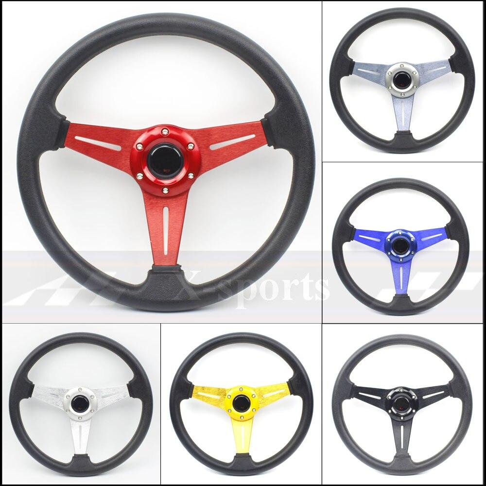 Voiture Sport volant course type haute qualité universel 14 pouces 350MM aluminium + PU 6 couleur titane carbone doré rouge MO