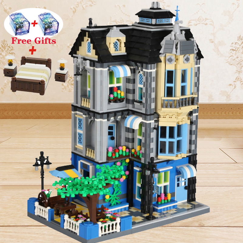 For LEGOing Creator Expert Garden Coffee House Modular Buildings Street View Blocks Toys For LEGOing City Creator Architecture