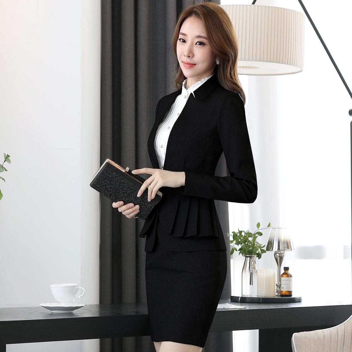 Professional Women Skirt Suits Blazers Autumn Business Ladies Office Work Wear White collar (jacket/Skirt /shirt / pants) - 5