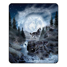 3d wolf Blanket for Beds Thin Quilt Fashionable Bedspread 150x200cm Fleece Throw Blanket(China)